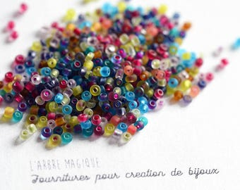 10g plus or minus 1200 transparent multicolor seed beads 2 mm