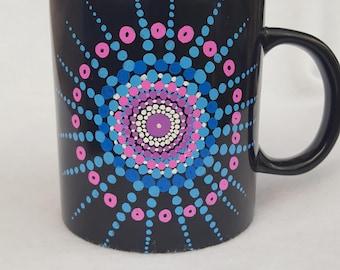 Oversized hand painted Mandala mug