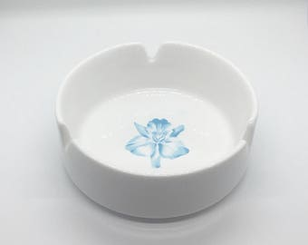 Vintage Blue Floral Ashtray - Made in Japan - Mid-Century - Heavy Duty