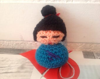 Lovely wool, h 12 cm Kokeshi, crochet and made entirely by hand