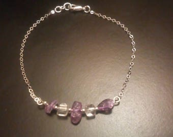 Genuine Amethyst and Crystal Quartz Bracelet