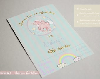 Unicorn invitation, unicorn invite, birthday invitation, birthday party, unicorn party, pastel colors