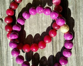 Violet Riverstone and Berry Malaysian Jade Gemstone Beaded Bracelets