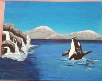 Whale Painting in Acrylic on Canvas