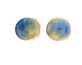 White Stud Earrings with clear and yellow colored sand blue resin cabochons