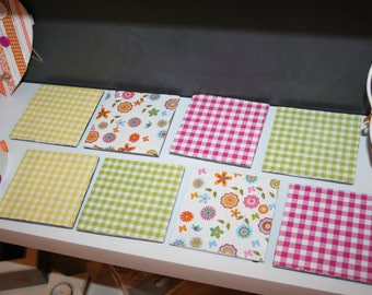 set of 8 coasters glass slate for gingham summer colors!