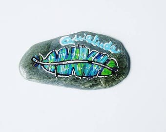 Hand-painted, multicolored, Pebble paperweight deco, ethnic, Native American, boho