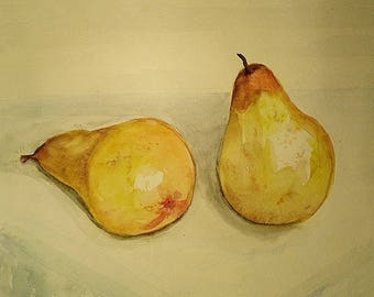 Watercolor, pears, nature dead coasters