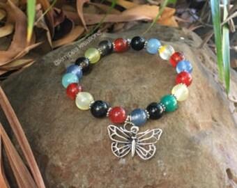 Mixed Carnelian & Butterfly Charm Bracelet