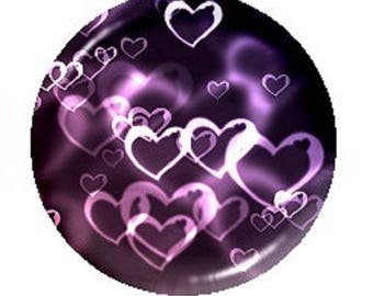 18mm cabochon hearts purple background