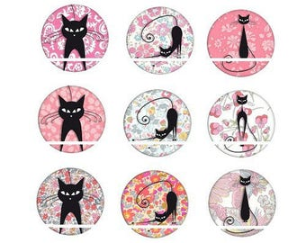 20mm, set of 9 cats cabochons