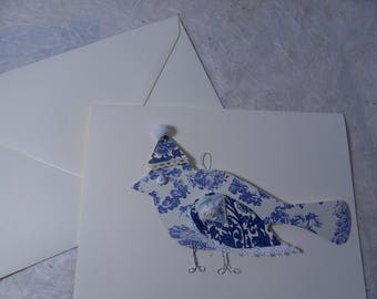 map double ivory bird paper blue