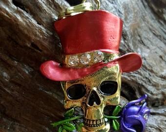 Halloween novelty skull rose pendant