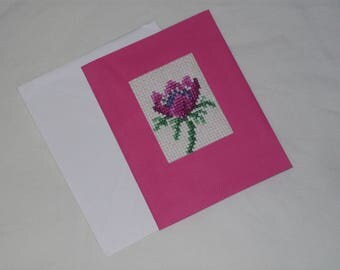 Hand Made Small Cross Stitch Greetings Card