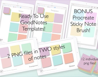 Digital Sticky Notes/Sticker Pack - Transparent and Opaque PNG - 6 Colours | GoodNotes Template Included