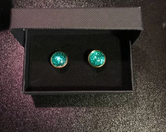 Sparkling Turquoise Dust  gold plated mens cufflinks