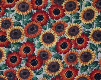 Coupon patch sunflower print fabric