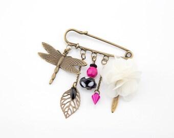 Fuchsia pink Dragonfly pin brooch black #1414