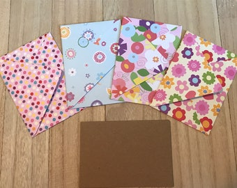 Floral lined envelopes with notecards