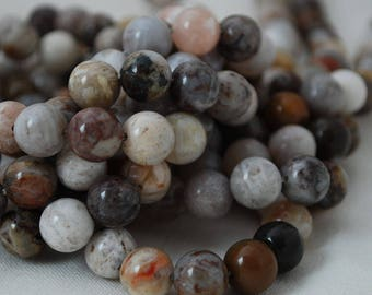 "High Quality Grade A Natural Bamboo Agate Semi-precious Gemstone Round Beads - 4mm, 6mm, 8mm, 10mm sizes - 16"" strand"
