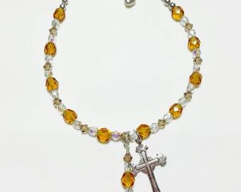 November Topaz Rosary Bracelet Divine Mercy Chaplet