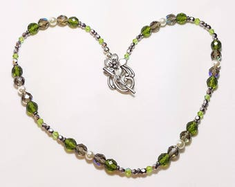 Olivine Peridot Pearl Crystal Single Strand Necklace