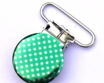 1 green pea round clasp 25mm crocodile pacifier clip