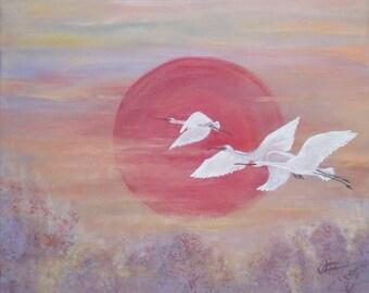 """Flight of cranes"" painting, acrylic on canvas"