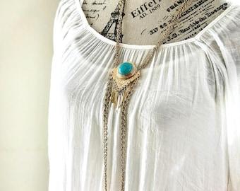 Vintage Boho Necklace - Vintage turquoise and gold necklace, turquoise pendant necklace, 1970s jewelry, bohemian fashion jewelry, boho style