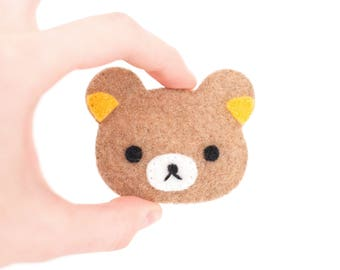Rilakkuma Bear Kawaii Sewn Felt Brooch / Pin