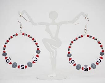 Red and Gray College Football Hoop Earrings. Hypoallergenic Shiny Silver Plated Fishhook Earring Hooks. Handmade Jewelry.