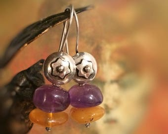 Amber earrings, Amethyst, silver