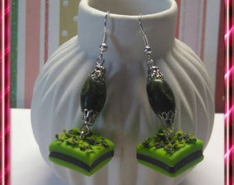Delicious earrings, green and black licorice polymer clay
