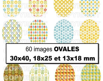 60 digital images for theme patterns inspiration Scandinavian Swedish blue young green - orange oval cabochon