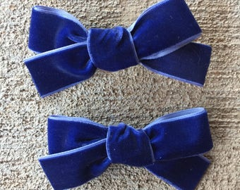 Blue velvet, Hand tied bow nylon headband or clip for babies, toddlers and little girls. Great for piggy tails or babies.
