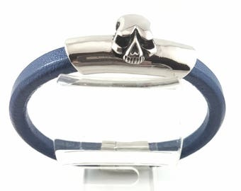 Mens Bracelet, Dark Blue Leather Bracelet, Stainless Steel Skull Bracelet, Goth Bracelet, Halloween, Birthday, Christmas Gift For Him