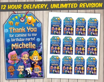 Bubble Guppies Thank You Tags, Bubble Guppies Favor Tags, Bubble Guppies Gift Tags, Bubble Guppies Tags Printables, Bubble Guppies Tags