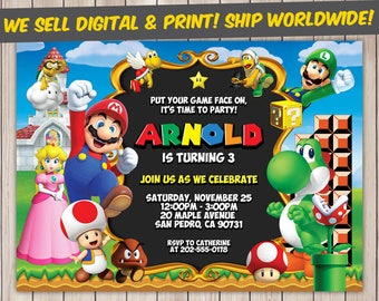 Super Mario Invitation, Super Mario Birthday, Super Mario Birthday Invitation, Super Mario Party, Super Mario Invite, Super Mario Printable