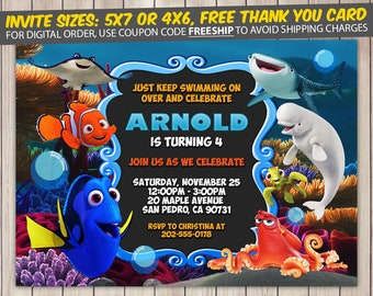 Finding Dory Invitation, Finding Dory Birthday, Finding Dory Birthday Invitation, Finding Dory Party, Finding Dory Invite, Printable