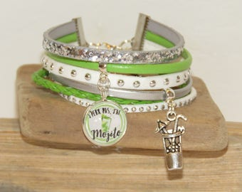 "Cuff Bracelet ""I can't I Mojito"" leather, suede and glitter, white, green and silver"