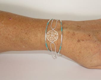 Print, silver stars, beads Miyuki Delicas, color turquoise, pale green, silver, gift idea for woman, pimprenellecreations