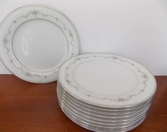 """Noritake """"Fairmont"""" china dinner plates set of 10"""