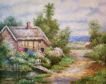 Oil painting of cottage