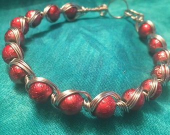 Red & Silver cross over wire Bracelet