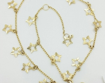 "14k Yellow Gold Diamond Cut Star Stars Charm Cable Chain Anklet 9"" 10"""