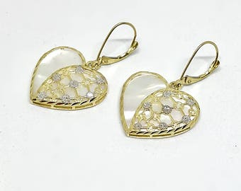 14k Gold UNIQUE Diamond Cut Heart shaped Mother of Pearl drop earring gift