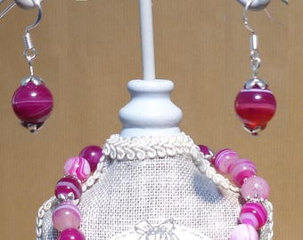 10 mm pink agate earrings. Sterling Silver hooks.
