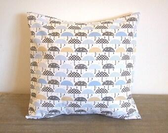 Housse de coussin 40 x 40 cm, taie d'oreiller, coton blanc aux motifs parapluies graphiques, gouttes de pluie, noir, bleu,