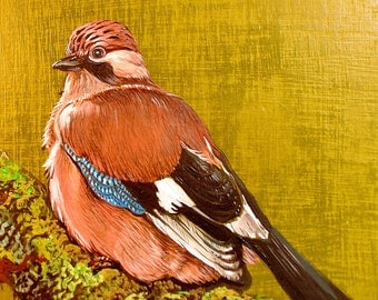 """Picture on wooden board """"Jay"""""""