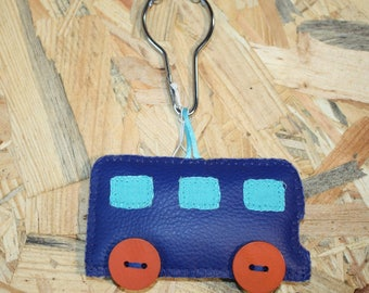 Blue Keychain in the shape of bus